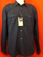 9803f7929306 Burberry Brit Navy Blue Cotton Epaulet Logo Button Down Military Shirt XL