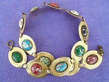 """VTG Gold Tone Metal disc belt w/ Multi-color Faux  Cabochon Stone Centers ~ 31"""""""