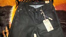 Vintage~Slim Waxed Denim Jeans~Size 30x30~Black