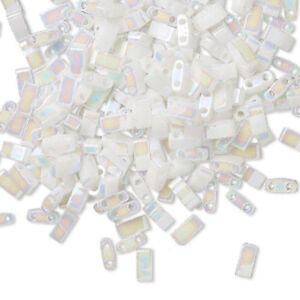 100 Miyuki Half Tila Two Hole Rectangle Glass Beads 5MM Opaque & Picasso Colors