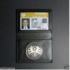 Agents of S.H.I.E.L.D. Shield Badge + Leather Holder + Phil Coulson ID card