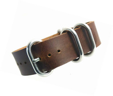 time+ 20mm 5-Ring NATO Zulu Oil Leather Military Watch Strap Brown