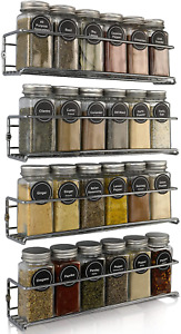 Premium Spice Rack Organizer for Cabinets or Wall Mounts - Space Saving Set of 4