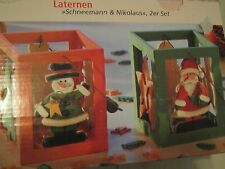 LANTERNE Pupazzo di Neve Babbo Natale Set 2 lame con lumino da tè Haltern NUOVO LEGNO 12,5x16,3x12,