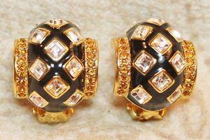 Joan Rivers Black Enamel Crystal Citrine Yellow Rhinestone Earrings