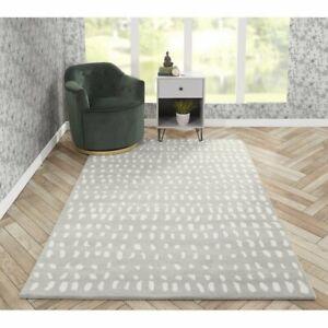 Modern Dalmatian Style Grey Hand-Tufted 100% Wool Soft Area Rug Carpet