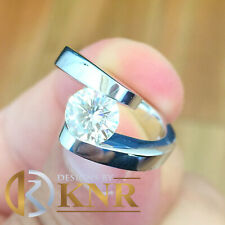 Ring Tension Set Solitaire 1.20Ct 14K White Gold Round Moissanite Engagement