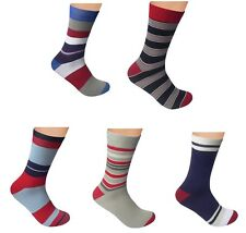 "Men Dress Seamless Cotton Socks 5 PACK by Rambutan ""Striped Collection"" Colorful"