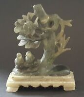 Chinese carved hard stone vintage Victorian antique bird figurine ornament