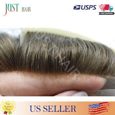 Lace Front  Mens Toupee Hair Replacemen System Bleached Brown Human Hairpiece #2