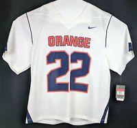 Nike Lacrosse Jersey Mens Large Syracuse Orange Short Sleeve White Throwback 22