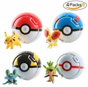 4PCS Pop-up Elf Toy Go Pokemon Pop PokeBall Poke Cosplay Ball Throw Fighting AU