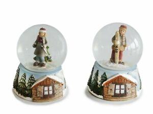 2 Schneekugeln Winterkinder 9cm Glitzerkugeln Schneekugel Glitzerkugel Ski Hütte