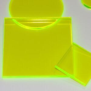 FLOURESCENT ACID GREEN GLOSS 6T66 LASER CUT PLASTIC SQUARES 3MM ACRYLIC PERSPEX