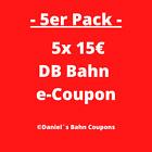 5er Pack | 5x15€ DB Deutsche Bahn Gutschein E-Coupon Ticket | Sofortversand