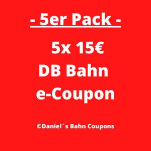 5er Pack   5x15€ DB Deutsche Bahn Gutschein E-Coupon Ticket   Sofortversand