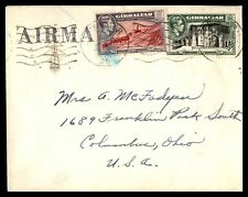 Gibraltar 1953 113-114 KGVI 2 Color Franking cover to Us columbus Ohio