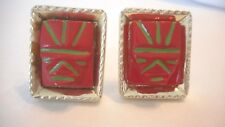 Plastic Red Faces Gold-tone (Ae vintage unsigned Large cuff Links Male/Female
