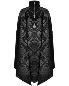 Devil Fashion Mens Gothic Vampire Cloak Cape Long Black Velvet Damask Steampunk