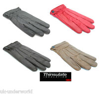 Ladies Real Genuine Leather Lined Driving Gloves Thermal Thinsulate Insulation