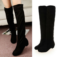 WOMEN LADIES OVER THE KNEE THIGH HIGH LOW HEEL FLAT SLOUCH FAUX SUEDE BOOT SHOES