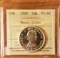1960 CANADA 50c Silver Half Dollar Coin QEII ICCS Graded: PL-66 HEAVY CAMEO
