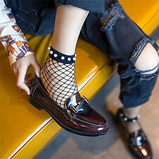 Women Sexy Pearl Fishnet Mesh Lace Ankle Socks Ruffle Fish Net Short Sock 0Q