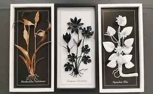Wood Framed Hand made Moden Flower Leaves Wall Sculpture Black White Gold 60cm