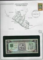 Banknotes of Every Nation Liberia 1991 5 Dollars UNC P 20 Prefix AH