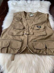 VTG LL Bean Fly Fishing Vest Mens X-Large Khaki Camping- 21 Pockets!