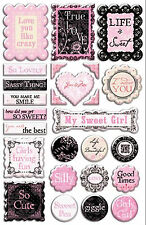 FRENCH SWEET PEA 3-D EPOXY STICKER SHEET scrapbooking (26) PIECES