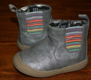 Toddler Cat & Jack (Target) Side Zip Ankle Boots / Metallic Gray / Size 4