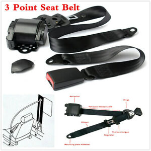1Set Iron Plate Style 3 Point Retractable Car Round Seat Belt Lap Diagonal Kit