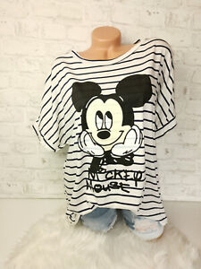 Italy New Collection Mouse T-Shirt weiß Mickey Gr. 38 40 42 44 blogger Oversized