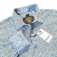 Robert Graham Colorful Print Multicolor Blue Sport Shirt Classic Fit Size Large