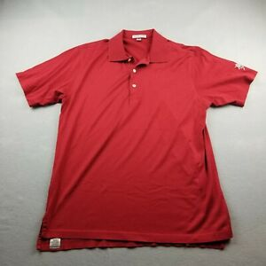 Peter Millar Polo Shirt Mens Medium Red Southern Hills Golf Logo Short Sleeve