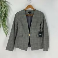 DKNY Womens Suit Jacket Blazer Size 4P Gray Plaid Pointed Modern Stretch NWT