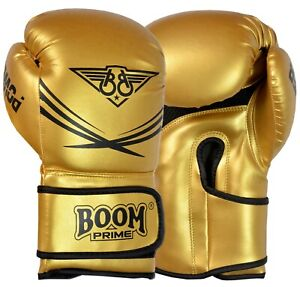 Boxing Gloves 10oz 12oz 14oz 16oz Gold Leather Training Sparring Punch Bag Mitts