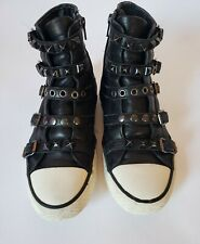 ASH Sneakers High Top Women SZ 9 Buckle Studded Zip StrapsBlack  Patent Leather