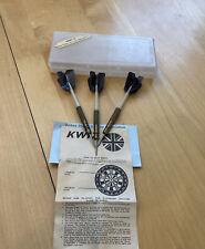 Vintage KWIZ 3 Throwing Darts & Case Made in England-Arrow Black Flight