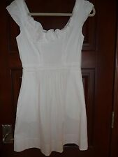 BCBG MAXAZRIA White Rosette Cotton Stretch Pleated Sheath Dress XS