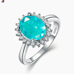 High quality Paraiba Tourmaline Engagement Ring 925 Sterling Silver Wedding Band