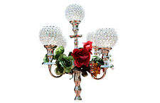 "Silver Crystal Candelabra Votive 5 Goblets Wedding Centerpiece 50"" Tall 127 cms"