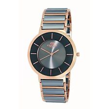 Mens Oniss Gray Ceramic and Rose Gold Stainless Band Slim Case Watch ON5555 66M