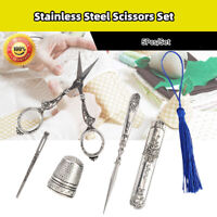 5pcs Stainless Steel European Antique Pointed Scissors for Embroidery Sewing