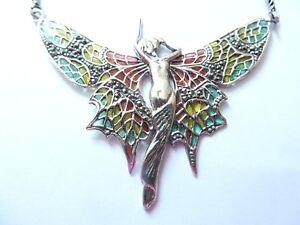 Fine Sterling Silver 6cm Lady Fairy Angel Goddess statement Necklace Art Nouveau