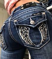 Miss Me Boot Cut Rhinestone Angel Wing Western Bling Denim Jeans size 2 26 x 33