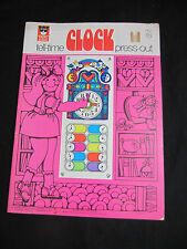 1970 Whitman Tell Time Clock Press out book unused Happy Helper