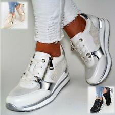 Damen Schuhe Sneaker Weiß Gold Schwarz Glitzer Sport Freizeitschuhe Keilabsatz