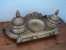 VINTAGE BRASS FOOTED DOUBLE DESK INKWELL AND LETTER OPENER SET - GORGEOUS.ITEM.